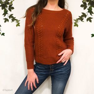 Forever 21 Cable Knit Rust Pullover Sweater Fall S